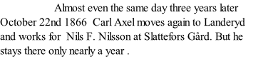 Almost even the same day three years later October 22nd 1866  Carl Axel moves again to Landeryd and works for  Nils F. Nilsson at Slattefors Gård. But he stays there only nearly a year .